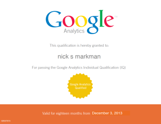 Nick Markman: Google Analytics Certified